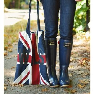 Like New Joules Poshwelly Navy & Red Wellie Rainboots